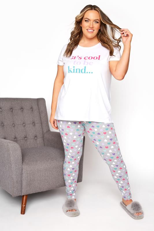 White 'It's Cool To Be Kind' Heart Pyjama Set_B.jpg