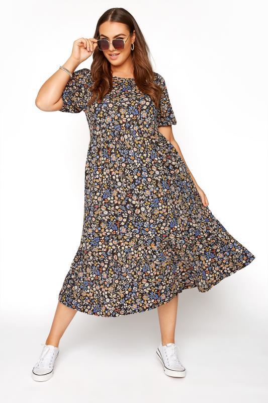 Black Paisley Print Puff Sleeve Midaxi Dress_B.jpg