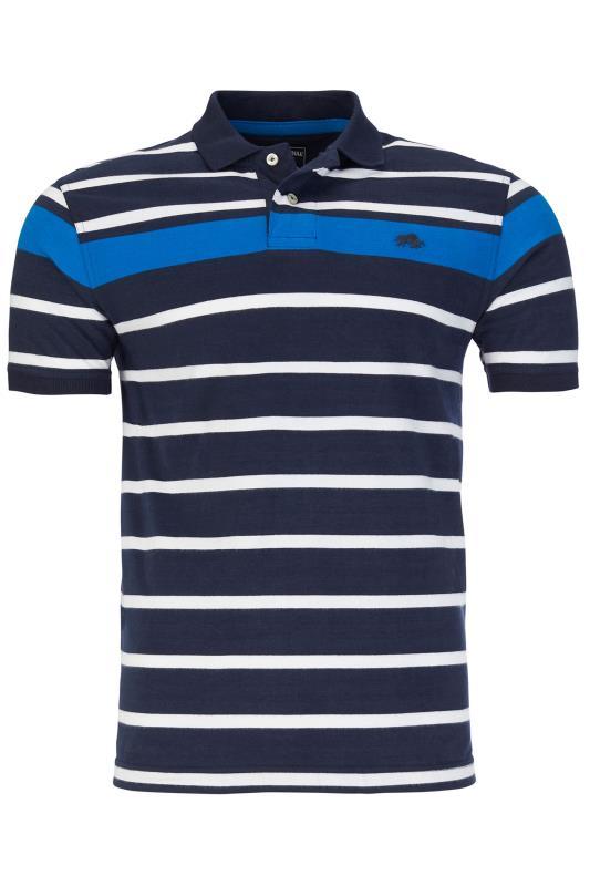 Plus Size  RAGING BULL Navy & Blue Stripe Polo Shirt