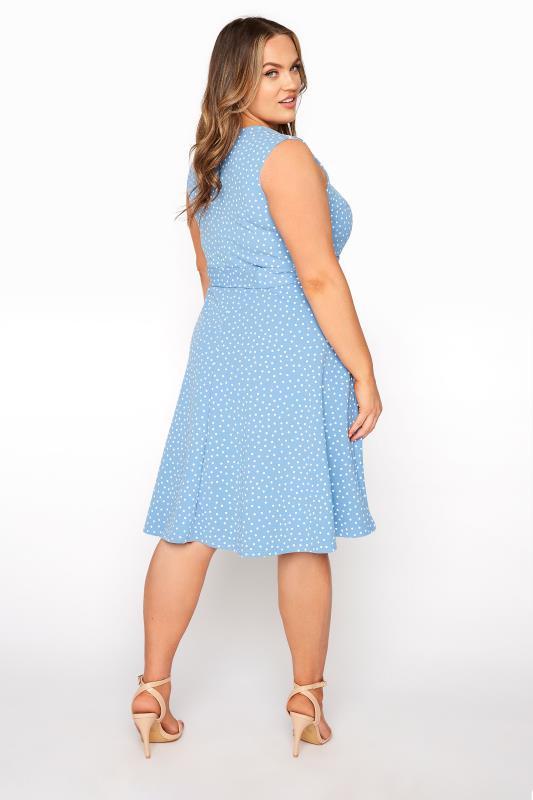 YOURS LONDON Blue Polka Dot Skater Dress_C.jpg