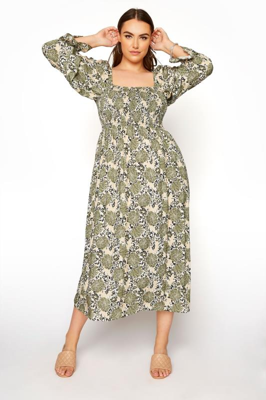 YOURS LONDON Green Shirred Front Floral Midaxi Dress_A.jpg