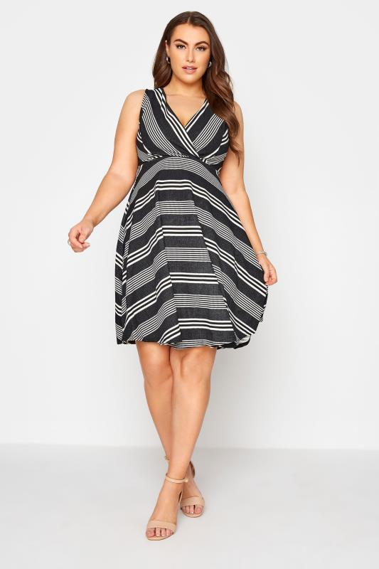 Black Stripe Wrap Skater Dress_A.jpg