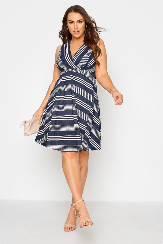 Blue Stripe Wrap Skater Dress_B.jpg