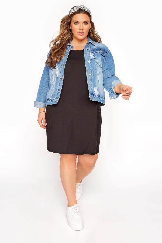 SUSTAINABLE ORGANIC Black Drape Pocket Dress