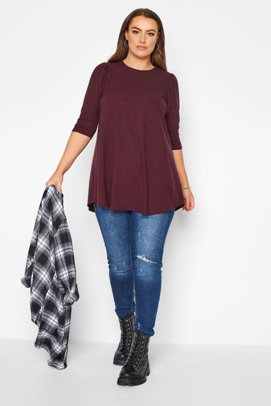 LIMITED COLLECTION Berry Purple Puff Sleeve Ribbed Top_B.jpg