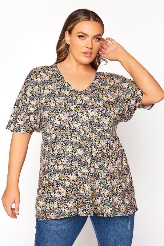 Plus Size  LIMITED COLLECTION Multi Floral Kimono Sleeve Top