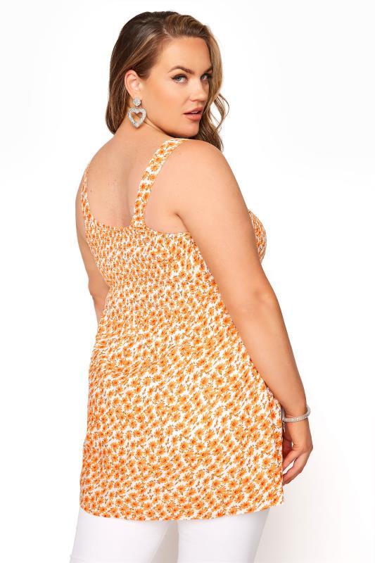 Orange Floral Shirred Smock Vest Top_C.jpg