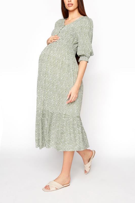 LTS Maternity Sage Green Ditsy V-Neck Button Tiered Midi Dress_A.jpg