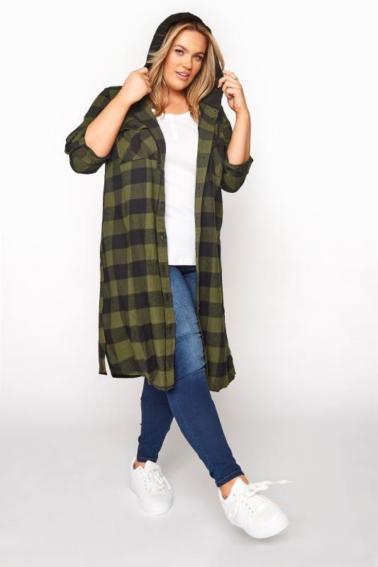 Khaki Checked Hooded Longline Shirt_B.jpg