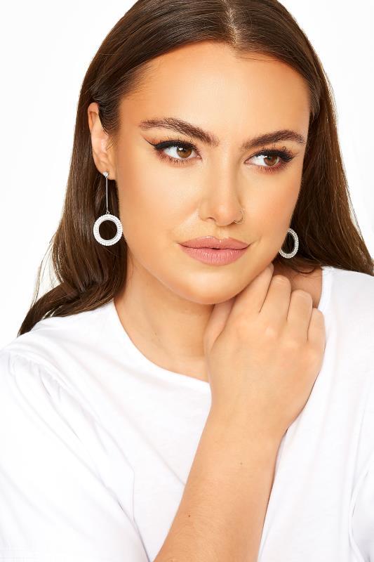 Plus Size  Silver Diamante Circle Drop Earrings