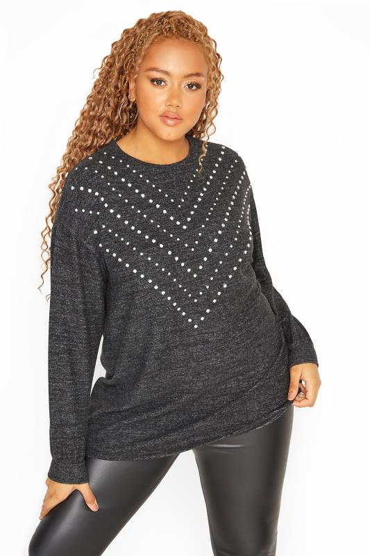 Charcoal Grey Chevron Diamante Soft Knitted Jumper