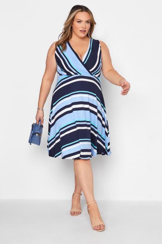 Light Blue Stripe Wrap Skater Dress_B.jpg