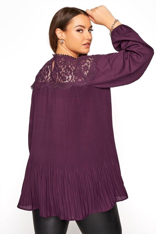YOURS LONDON Purple Lace Plisse Chiffon Blouse_C.jpg