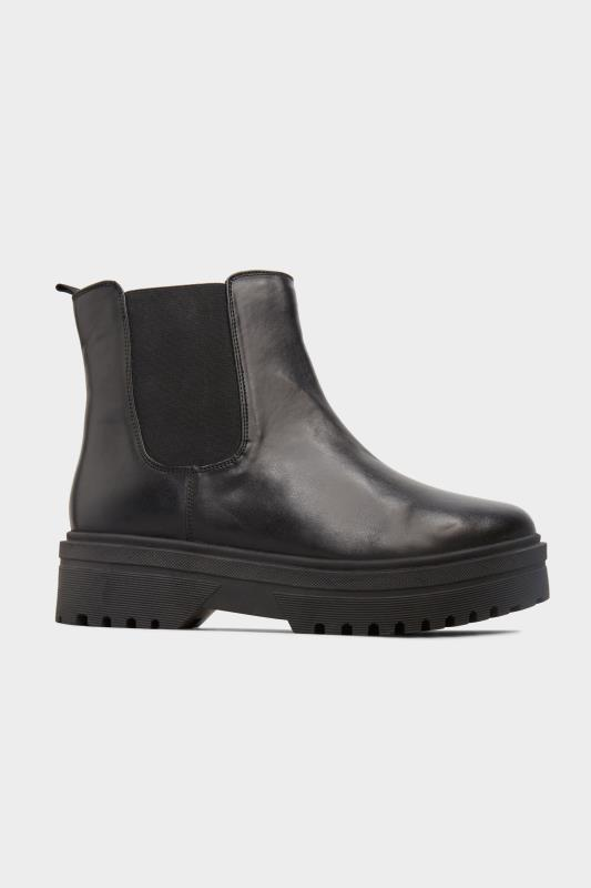 LIMITED COLLECTION Black Vegan Faux Leather Platform Chelsea Boots In Extra Wide Fit_A1.jpg
