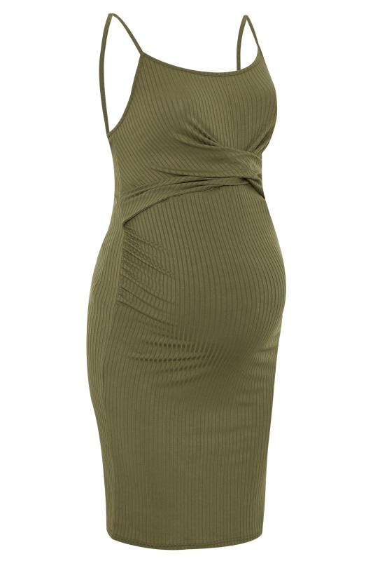 BUMP IT UP MATERNITY Khaki Green Ribbed Twist Bodycon Midi Dress