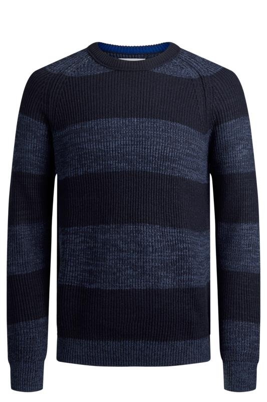 Men's Casual / Every Day JACK & JONES Blue Stripe Knitted Crew Neck Jumper