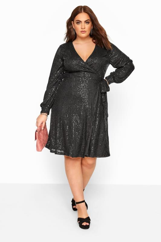 Plus Size Casual / Every Day CHI CHI Black Sequin Wrap Dress