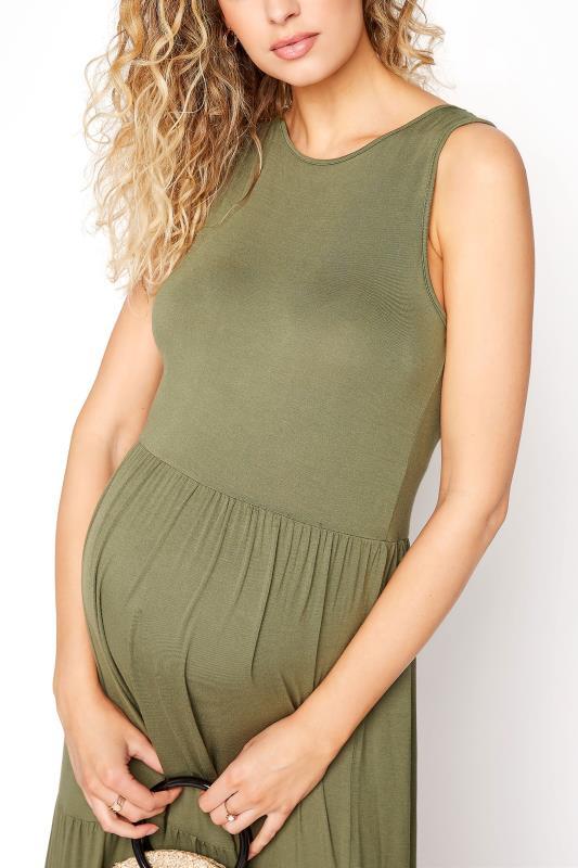LTS Maternity Khaki Tiered Maxi Dress_D.jpg