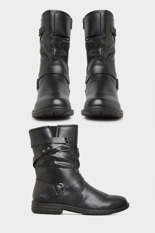 Black Vegan Faux Leather Buckle Detail Boots In Wide Fit_split.jpg
