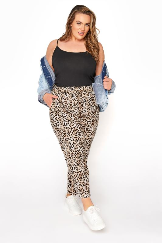 YOURS LONDON Black Leopard Print Tapered Harem Trousers_A.jpg