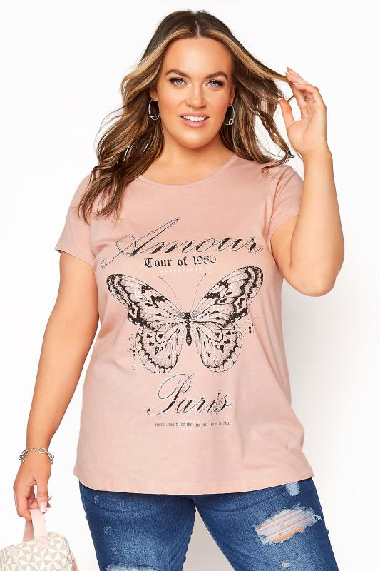 Plus Size  Pink Butterfly Print 'Amour' T-Shirt