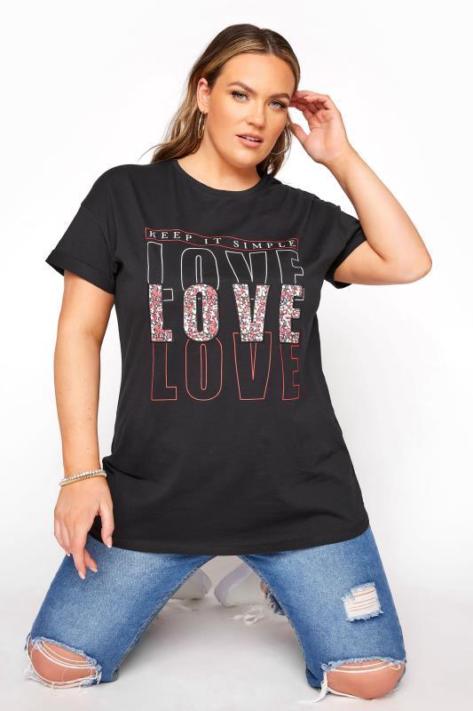 Plus Size  Black 'Love' Slogan T-Shirt