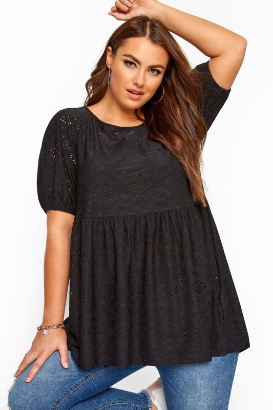 Plus Size Day Tops Black Embroidered Puff Sleeve Smock Top