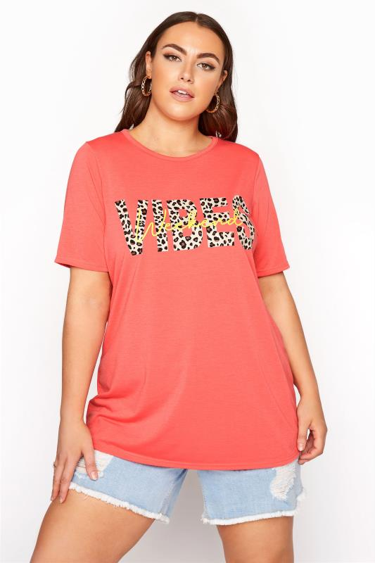 LIMITED COLLECTION Pink Animal Print 'Weekend Vibes' Slogan T-shirt