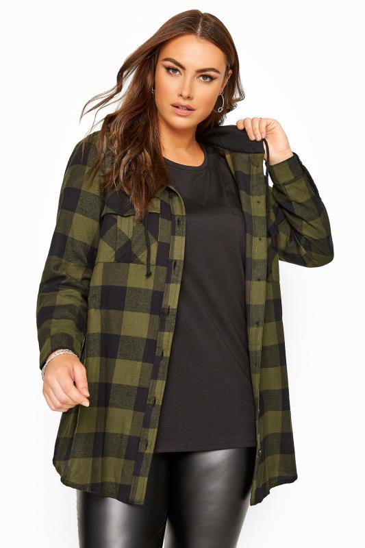 Plus Size  Khaki & Black Check Hooded Shirt