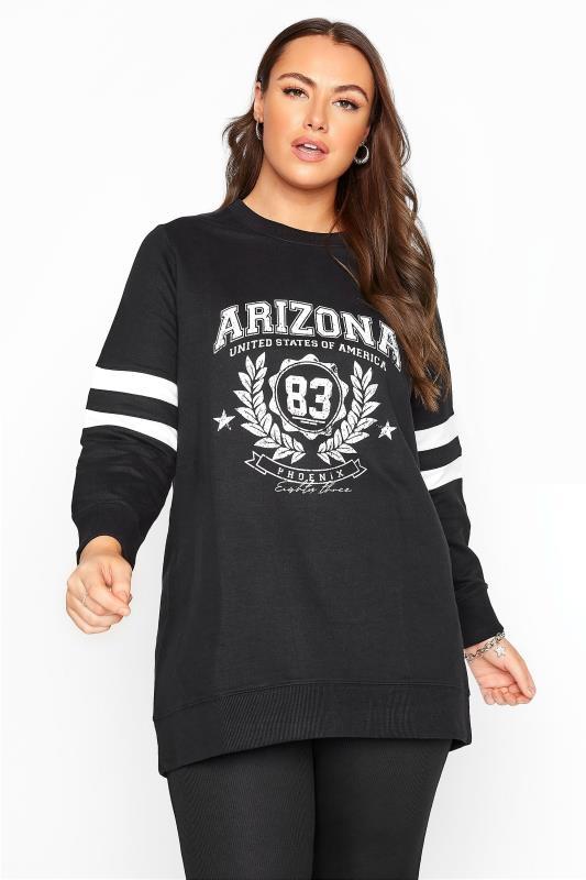 Plus Size  Black Varsity Stripe Arizona Sweatshirt