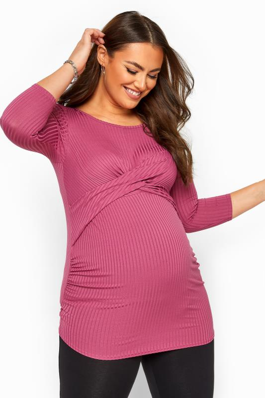 Plus Size Maternity Tops & T-Shirts BUMP IT UP MATERNITY Bright Pink Ribbed Front Twist Top