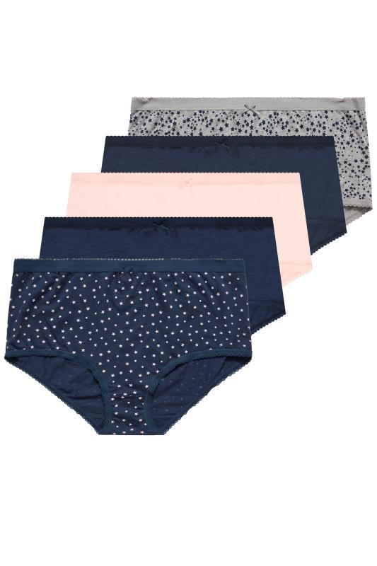 5er PACK Multi Taillenslips mit breiter Seitenpartie & Sternen Print