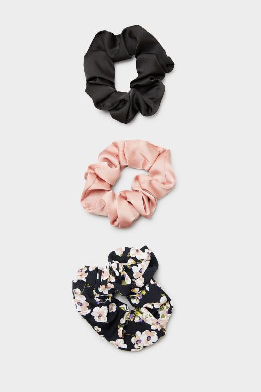 3 Pack Pink and Black Floral Scrunchie Set_F.jpg