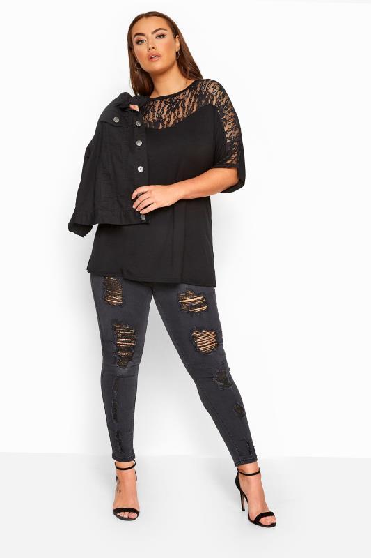 Black Lace Insert Top