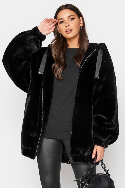 Tall  LTS Black Oversized Faux Fur Jacket