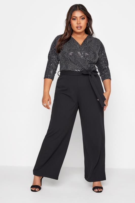Plus Size  YOURS LONDON Black Glitter Sequin Jumpsuit
