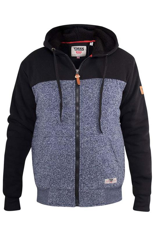 Jackets dla puszystych D555 Navy Sherpa Zip Through Jacket