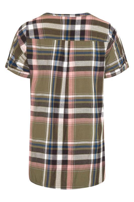 Khaki Grown On Sleeve Check Shirt_BK.jpg