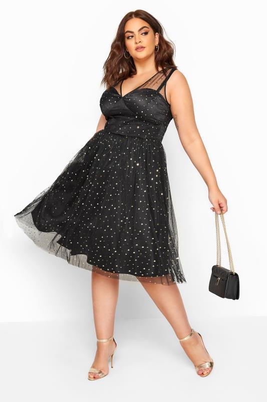 HELL BUNNY Black Stars & Moon 'Infinity' Dress