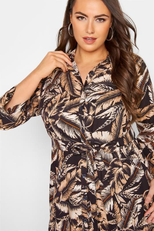 Black Leaf Print Shirt Dress_D.jpg