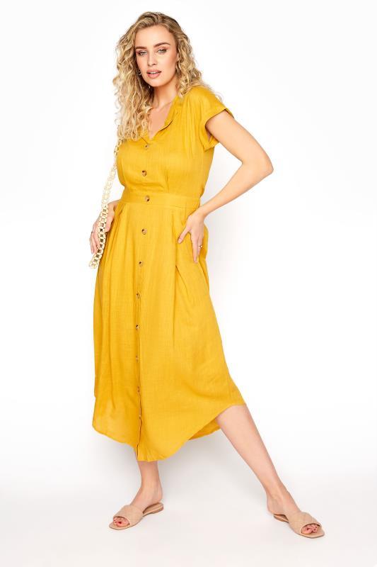 LTS Yellow Linen Blend Button Front Tulip Dress_B.jpg