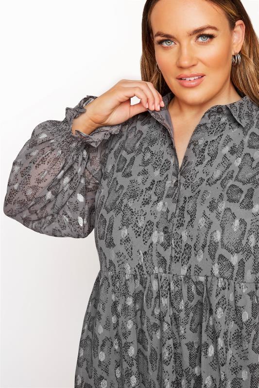 LIMITED COLLECTION Grey Foil Snake Tiered Shirt Dress_D.jpg
