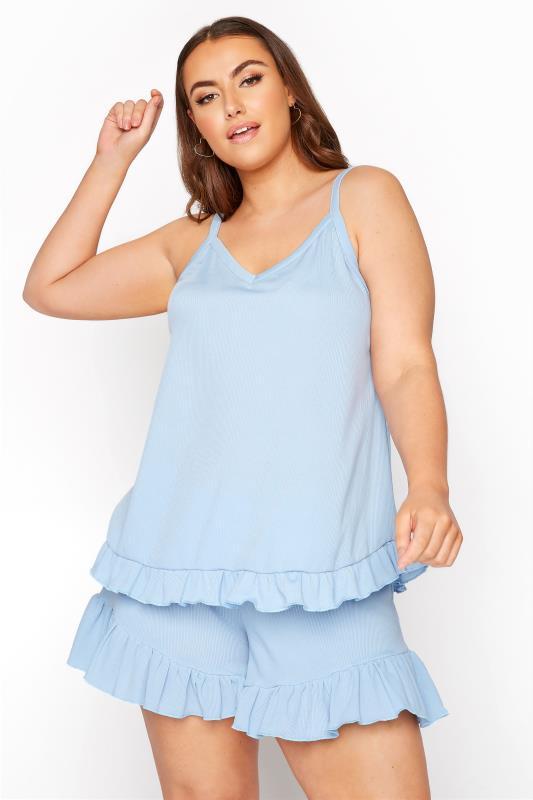 LIMITED COLLECTION Light Blue Frill Ribbed Pyjama Shorts_B.jpg