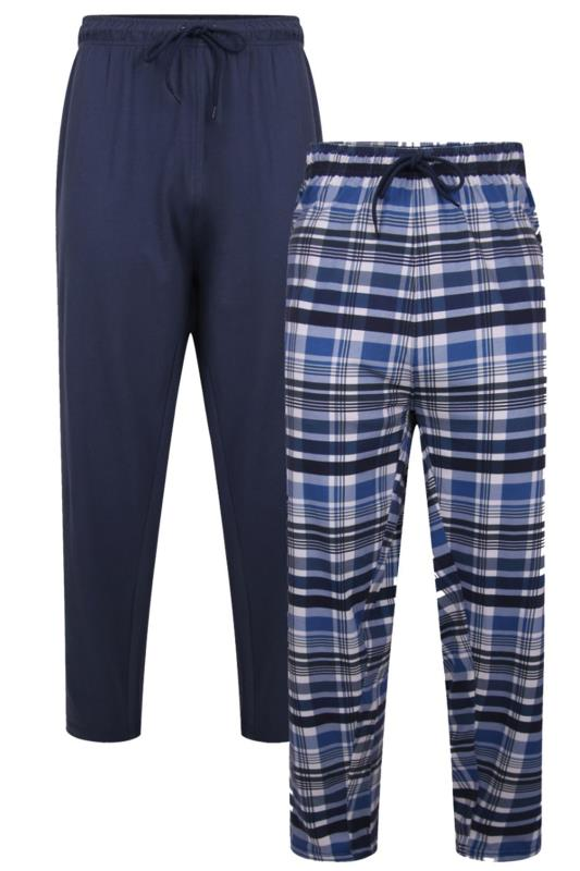 Plus Size  KAM 2 PACK Navy & Check Lounge Bottoms