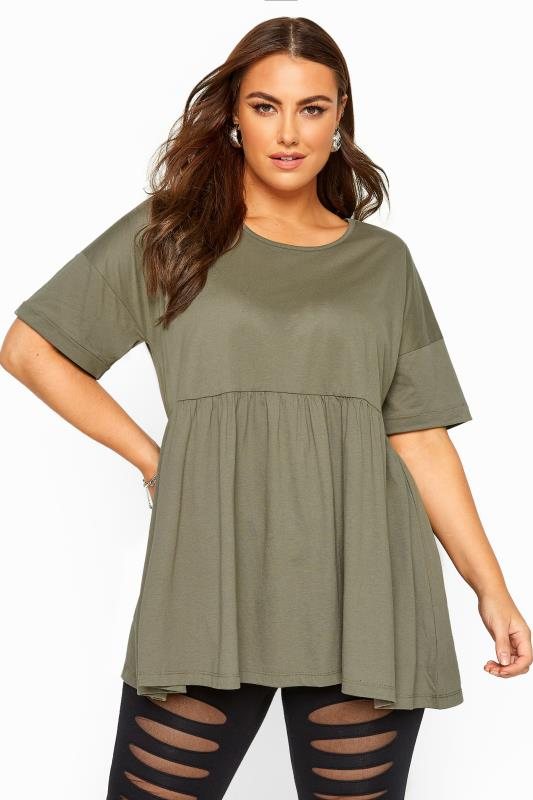 Plus Size Jersey Tops Khaki Drop Shoulder Peplum Top