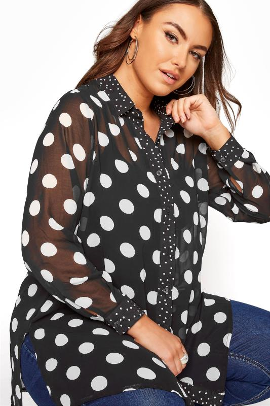 YOURS LONDON Black Polka Dot Boyfriend Shirt_D.jpg