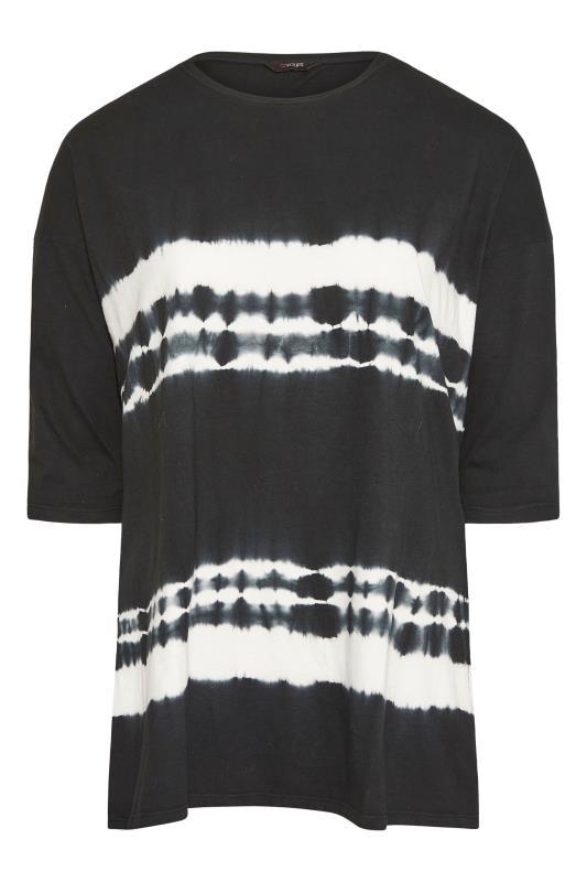 Plus Size  Black Tie Dye Stripe T-Shirt