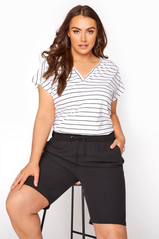 Plus Size  Black Cool Cotton Shorts