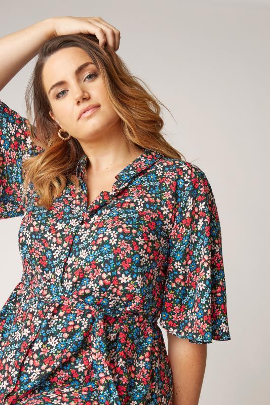 THE LIMITED EDIT Black Floral Print Shirt Mini Dress_D.jpg