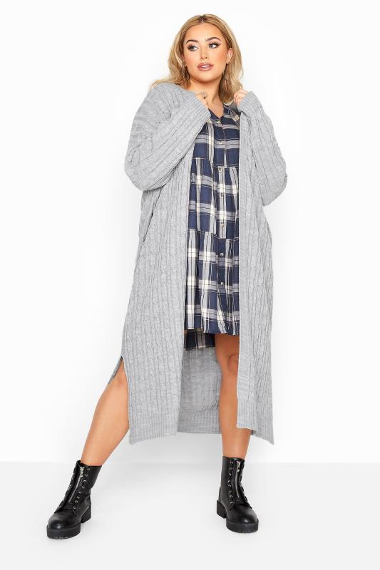 Grey Cable Knit Longline Cardigan